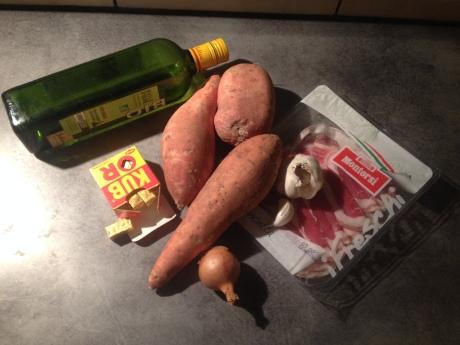 Purée de patate douce à la pancetta