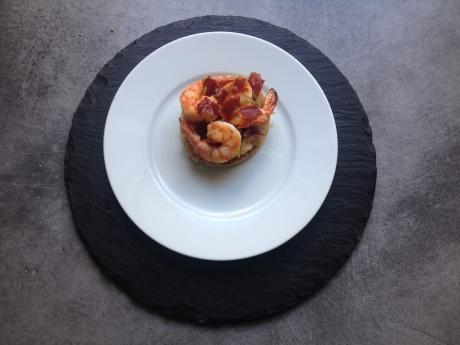 Tarte fine aux oignons doux à la pomme gambas chips de jambon cru - Mon cours de cuisine à l'atelier des chefs (1)
