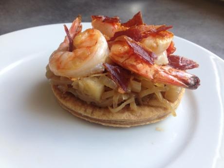 Tarte fine aux oignons doux à la pomme gambas chips de jambon cru - Mon cours de cuisine à l'atelier des chefs (2)