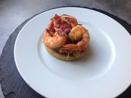 Tarte fine aux oignons doux à la pomme gambas chips de jambon cru - Mon cours de cuisine à l'atelier des chefs (3)