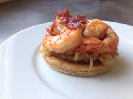 Tarte fine aux oignons doux à la pomme gambas chips de jambon cru - Mon cours de cuisine à l'atelier des chefs (4)